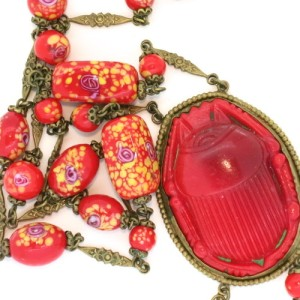 Czech Red Glass Scarab necklace